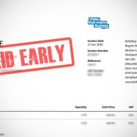 A Bellyflop Tv Invoice with a 'Paid early' stamp mark